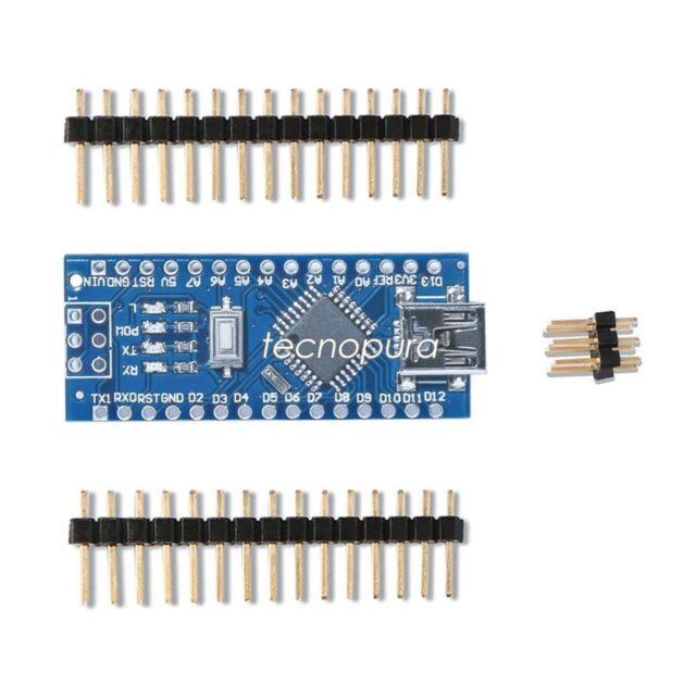 ARDUINO NANO V3.0 ATMEGA328 5V CH340 SIN SOLDAR Y SIN CABLE USB 📢¡Nuevo producto!  Pequeña y completa placa basada en el ATmega328 (Arduino Nano 3.0) o el ATmega168 en sus versiones anteriores (Arduino Nano 2.x) que se usa conectándola a una protoboard. El entorno de desarrollo integrado libre se puede descargar gratuitamente.  https://www.tecnopura.com/producto/arduino-nano-v3-0-atmega328-5v-ch340-sin-soldar-y-sin-cable-usb/
